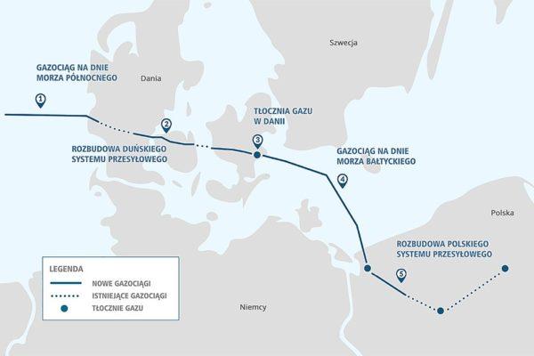 Planowany przebieg gazociągu Baltic Pipe. Fot. commons.wikimedia.org/wiki/File:Mapa_baltic-pipe-public-domain-PL.jpg#/media/File:Mapa_baltic-pipe-public-domain-PL.jpg