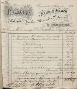 Jeden z rachunków Fabryki Cegielskiego z 1858 roku